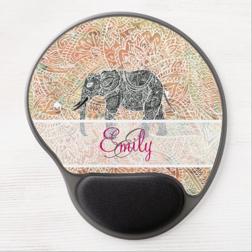 Monogram Tribal Paisley Elephant Colorful Henna Gel Mouse Pad