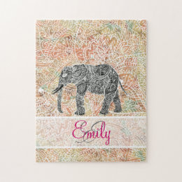 Monogram Tribal Paisley Elephant Colorful Henna Jigsaw Puzzle