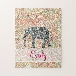 Monogram Tribal Paisley Elephant Colorful Henna Jigsaw Puzzle
