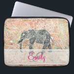 "Monogram Tribal Paisley Elephant Colorful Henna Laptop Sleeve<br><div class=""desc"">Monogram Tribal Paisley Elephant Colorful Henna Pattern. A cool, ethnic black and white sketch of a wild elephant with abstract floral paisley monogrammed pattern on a colorful tribal henna pattern with Boho Chic fashion colors, in coral, orange, turquoise, pink. Perfect gift for the wild animal lovers, fan of Mehndi style...</div>"