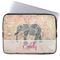 Monogram Tribal Paisley Elephant Colorful Henna Laptop Sleeve