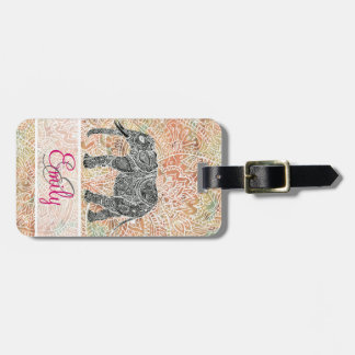 Monogram Tribal Paisley Elephant Colorful Henna Luggage Tag