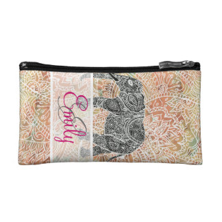 Monogram Tribal Paisley Elephant Colorful Henna Makeup Bag