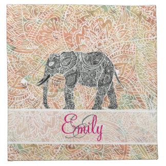 Monogram Tribal Paisley Elephant Colorful Henna Napkin