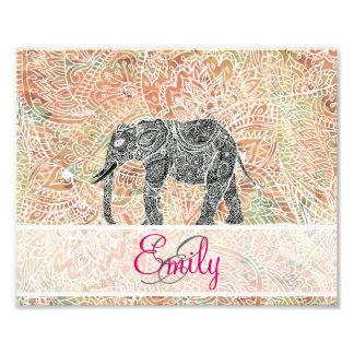 Monogram Tribal Paisley Elephant Colorful Henna Photo Print