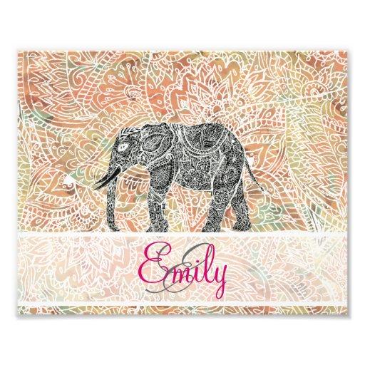Monogram Tribal Paisley Elephant Colorful Henna Art Photo