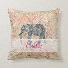 Monogram Tribal Paisley Elephant Colorful Henna Throw Pillow