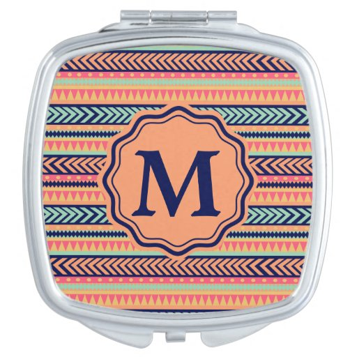 Monogram Tribal Texture Stripes Customizable Makeup Mirror
