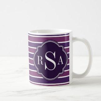Monogram Trio Royal Purple Stripes Pattern Coffee Mug