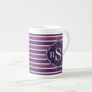 Monogram Trio Royal Purple Stripes Pattern Tea Cup