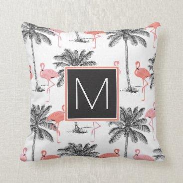 monogram_bouquet Monogram   Tropical Black & Pink Flamingoes Throw Pillow