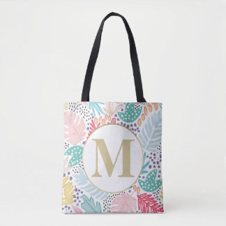 Monogram Tropical Colourful Collage Tote Bag