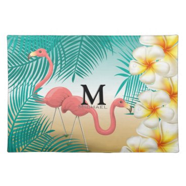 Beach Themed Monogram Tropical Flamingos Beach Paradise Cloth Placemat