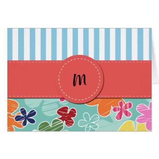 Monogram - Tropical Flowers - Pink Green Blue Card