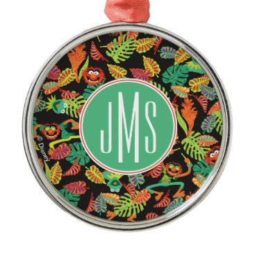 Disney Themed Monogram Tropical Kermit & Animal Pattern Metal Ornament
