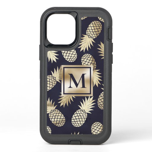 Monogram Tropical Pineapple Girly Gold Navy OtterBox Defender iPhone 12 Case