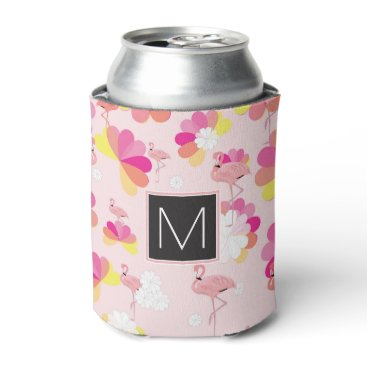 Beach Themed Monogram | Tropical Pink Flamingoes Can Cooler