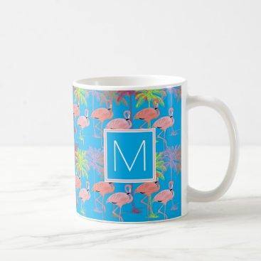 monogram_bouquet Monogram   Tropical Pink Flamingoes Coffee Mug