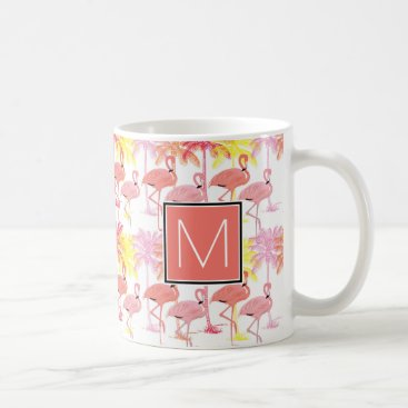 Beach Themed Monogram | Tropical Pink Flamingoes Coffee Mug