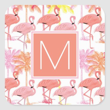 Beach Themed Monogram | Tropical Pink Flamingoes Square Sticker
