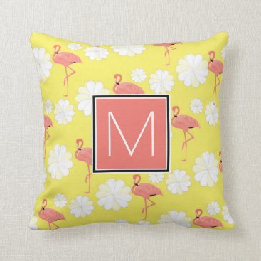 monogram_bouquet Monogram   Tropical Pink Flamingoes Throw Pillow