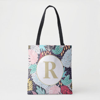 Monogram Tropical Shapes Collage Pattern Tote Bag
