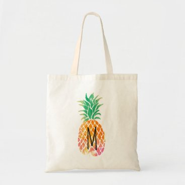 Beach Themed monogram tropical watercolor pineapple tote bag