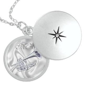 Monogram Trumpet Sterling Silver Locket Necklace