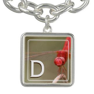 Monogram Trust Your Wings Red Dragonfly Custom Charm Bracelets
