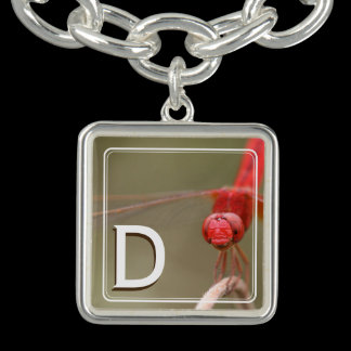 Monogram Trust Your Wings Red Dragonfly Custom Charm Bracelets