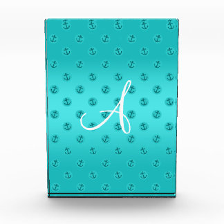 Monogram turquoise anchors polka dots acrylic award