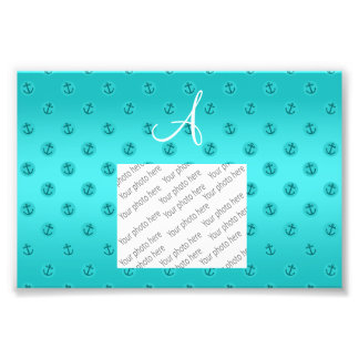 Monogram turquoise anchors polka dots photograph