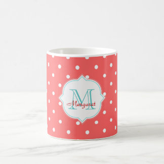 Monogram Turquoise and Coral  Polka dots Classic White Coffee Mug
