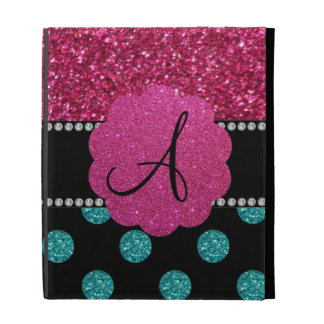 Monogram turquoise and pink polka dots iPad case