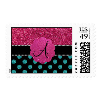 Monogram turquoise and pink polka dots postage stamps