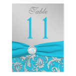 Monogram Turquoise and Silver Damask Table Number Postcards