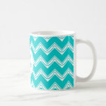 Monogram Turquoise and White Chevron pattern Mugs
