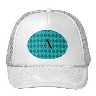 Monogram turquoise argyle mesh hats