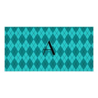 Monogram turquoise argyle personalized photo card