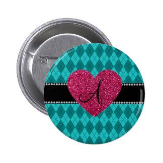 Monogram turquoise argyle pink heart 2 inch round button