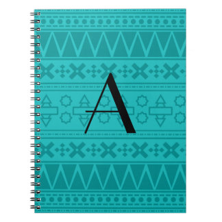 Monogram turquoise aztec pattern note books