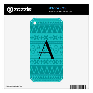 Monogram turquoise aztec pattern skins for iPhone 4