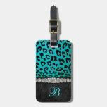 Monogram Turquoise, Black Animal Print Luggage Tag