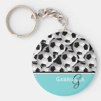 Monogram Turquoise  Black Soccer Ball Pattern Keychain