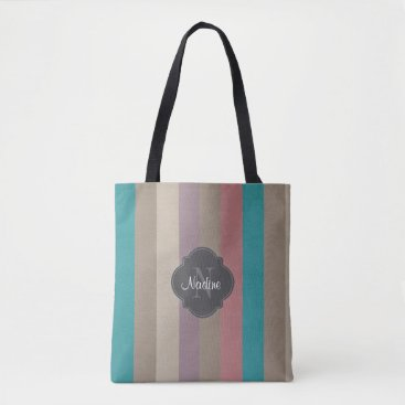 Beach Themed Monogram Turquoise, brown and violet striped Tote Bag
