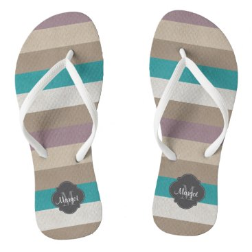 Beach Themed Monogram Turquoise,brown, white and violet Flip Flops