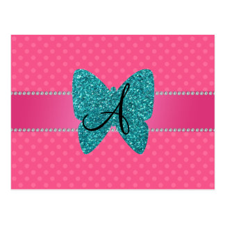 Monogram turquoise butterfly pink polka dots post card