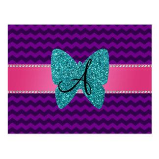 Monogram turquoise butterfly purple chevrons postcard