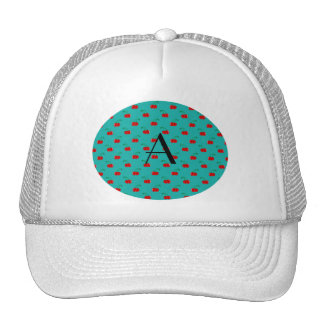 Monogram turquoise cherry pattern trucker hat