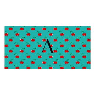 Monogram turquoise cherry pattern photo card